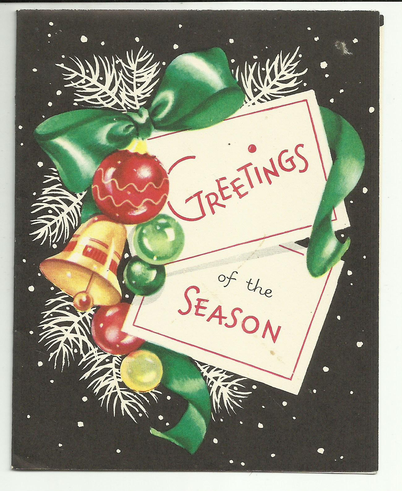 unused vintage greetings of the season bright colors on black christmas card envelope