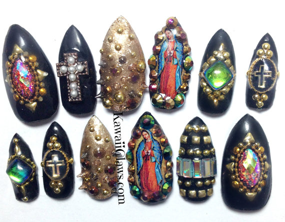 Kawaii Claws Studded Cross Nails With Virgin Guadalupe Vintage