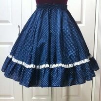 S navy blue white polka dot lace rockabilly full twirl circle skirt