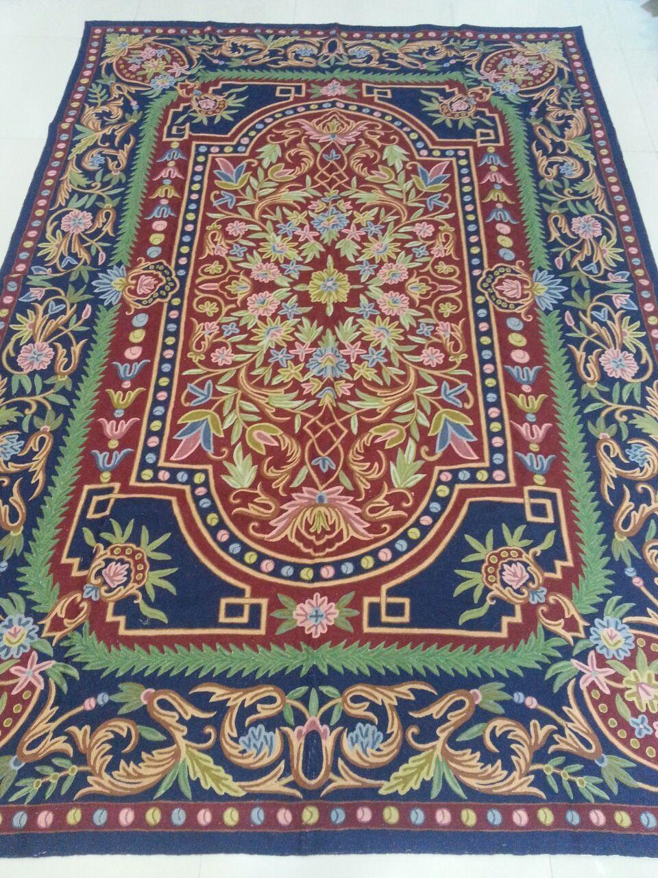 Blue Woollen Rugs Wall Hanging Tapestry Hallway Runner Décor Pastel