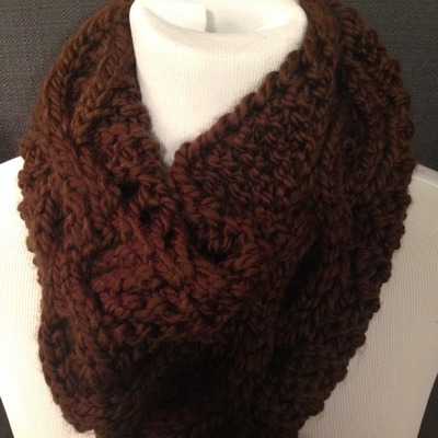 Brown cable knit infinity