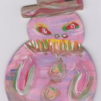 My Snowman - painting on wood cut out