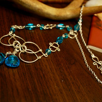 Sterling Silver and Blue Art Deco Motif Necklace
