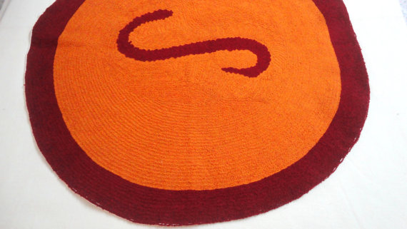 ... Round 2 Feet Monogrammed/personalized Rug/custom Initial/name/Round Rug/