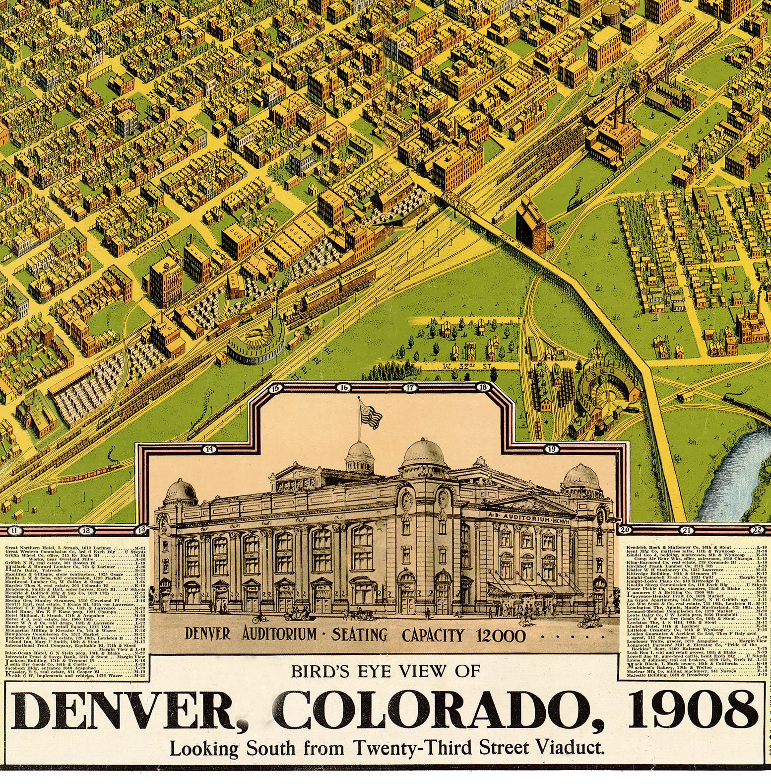 Denver, CO in 1908 - Bird\'s Eye View Map, Aerial map, Panorama ...