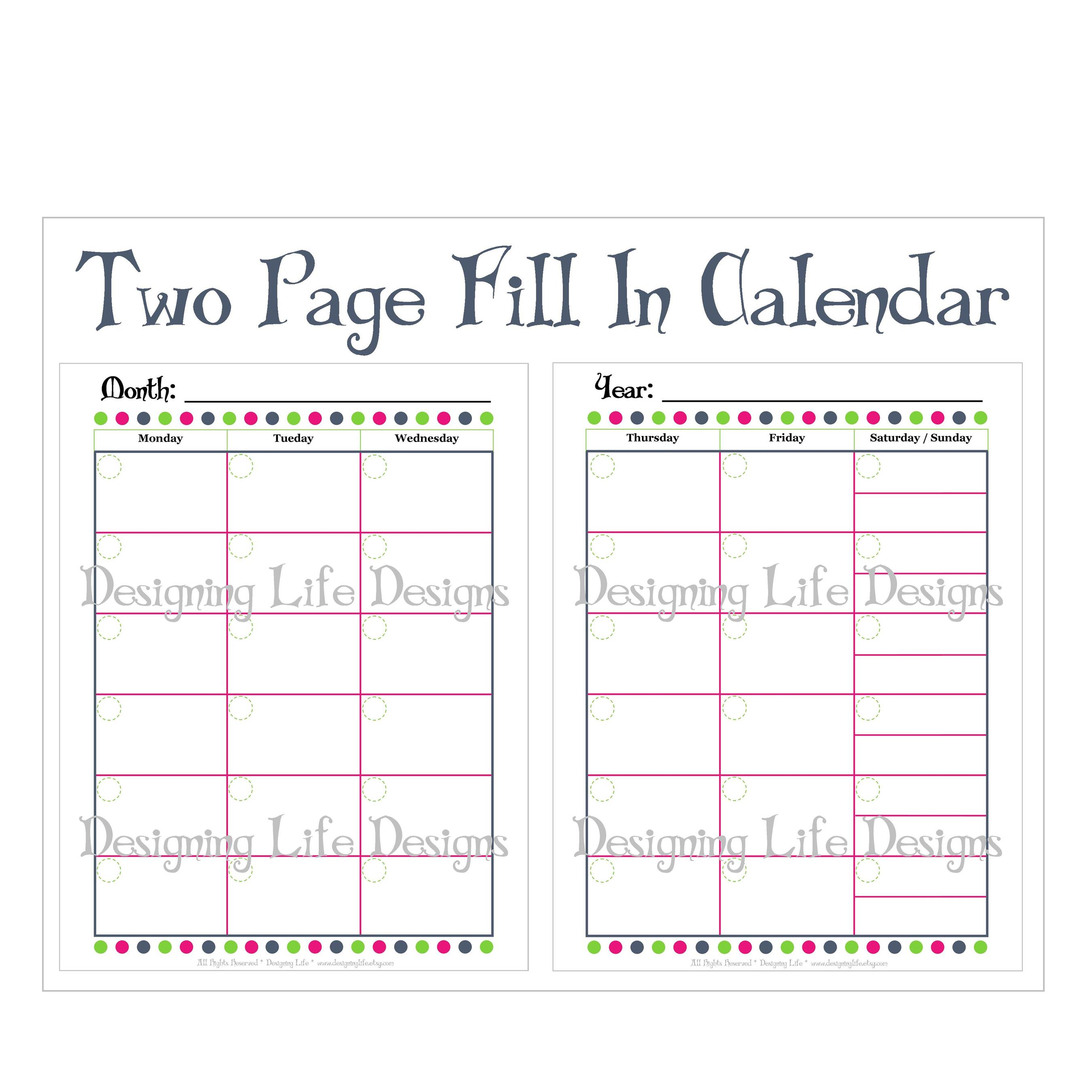 Fill In Monthly Calendar Printable - Two Page Design · Designing Life ...