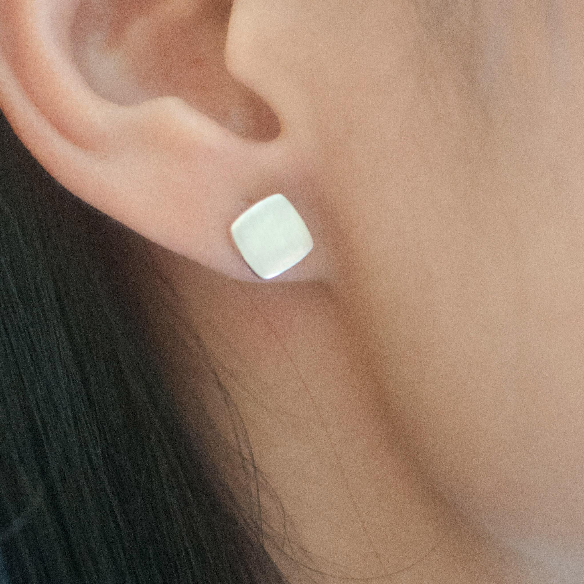 7mm Square Stud Earrings Sterling Silver Metal Earrings, Wedding Earrings  Bridesmaid Earring Vintage Fashion Earrings