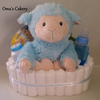 Blue Lamb Diaper Basket