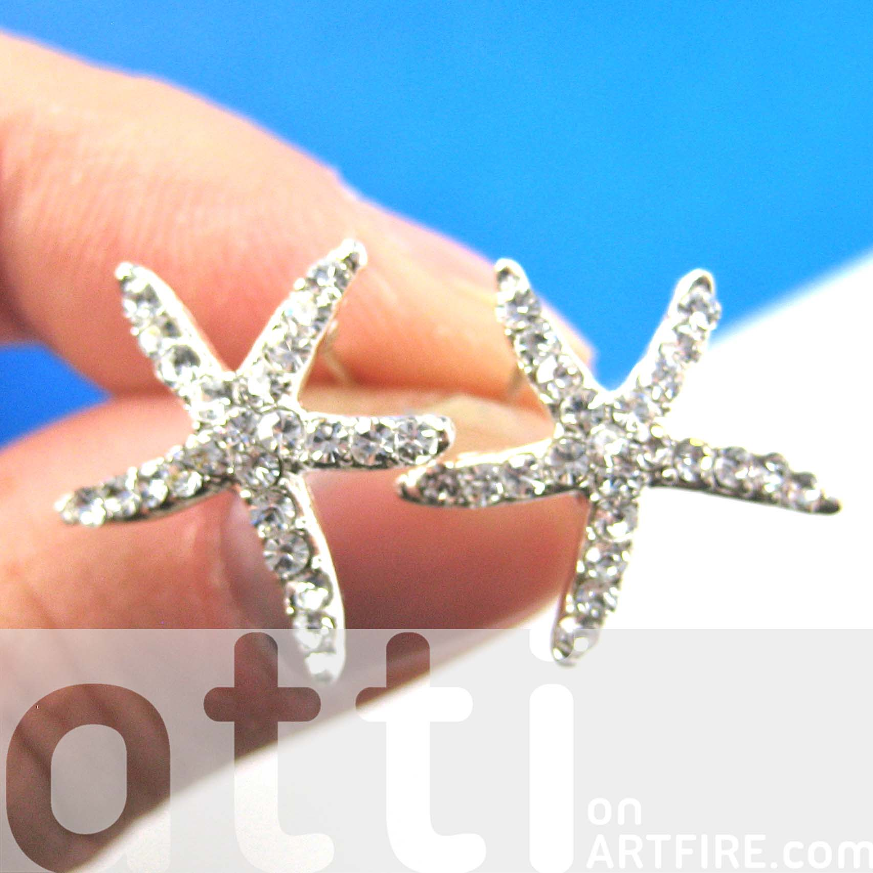 de renta la on metallic stud in jewelry starfish clip lyst normal product gold light earrings oscar gallery