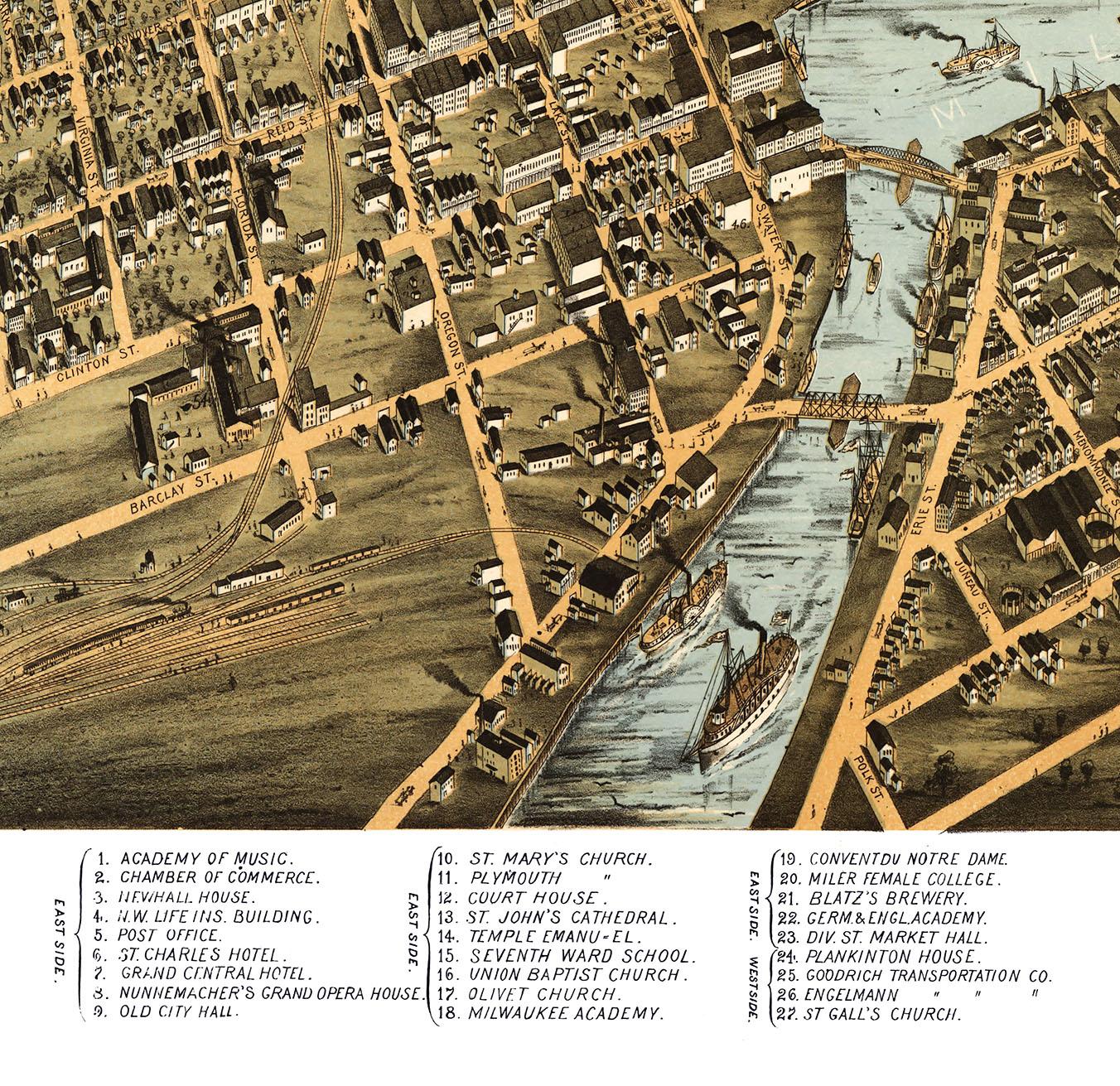 Milwaukee Wisconsin In Birds Eye View Map Aerial Panorama - Vintage milwaukee map