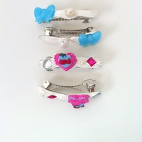 blue white pink pearl rhinestone whipped cream bow heart cherry tart hair clip barrettes