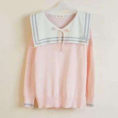 Japanese cute navy collar bowknot sweater