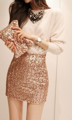 Gold Sequin Mini Skirt - Dress Ala