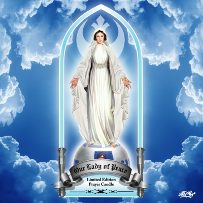 """our lady of peace"" princess leia 8"" prayer candle white"