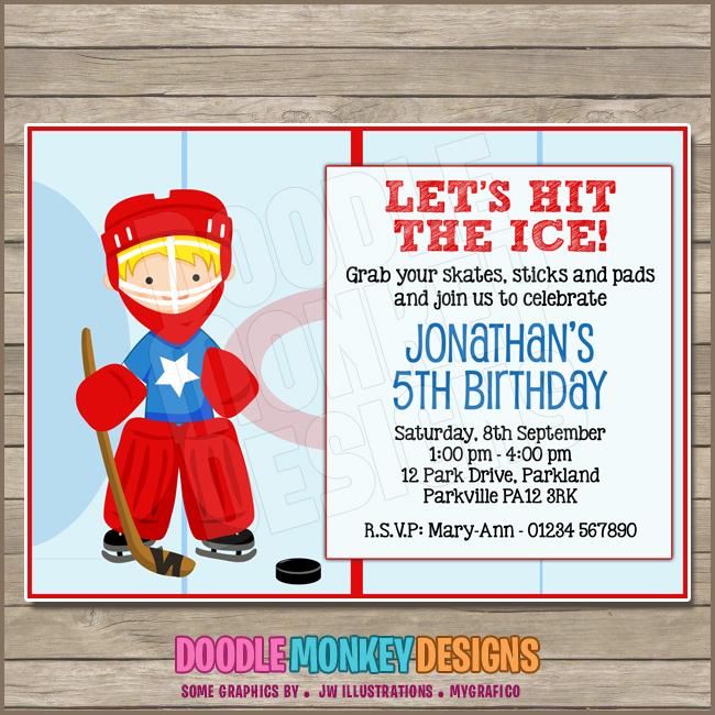Hockey Boy V3 Party Invitation Diy Printable Digital Invite
