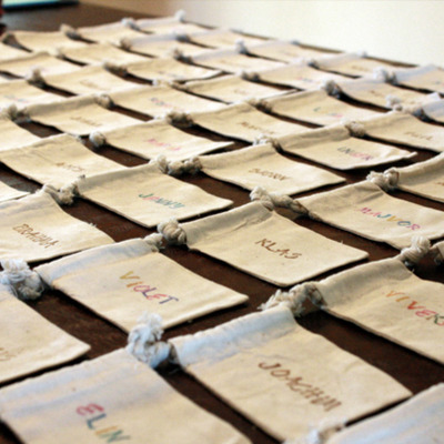 Place card favor bags - place card that doubles as a favor