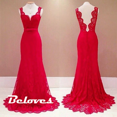 2015 Red Lace Sheath Evening Gown With Open Back · Beloves ...