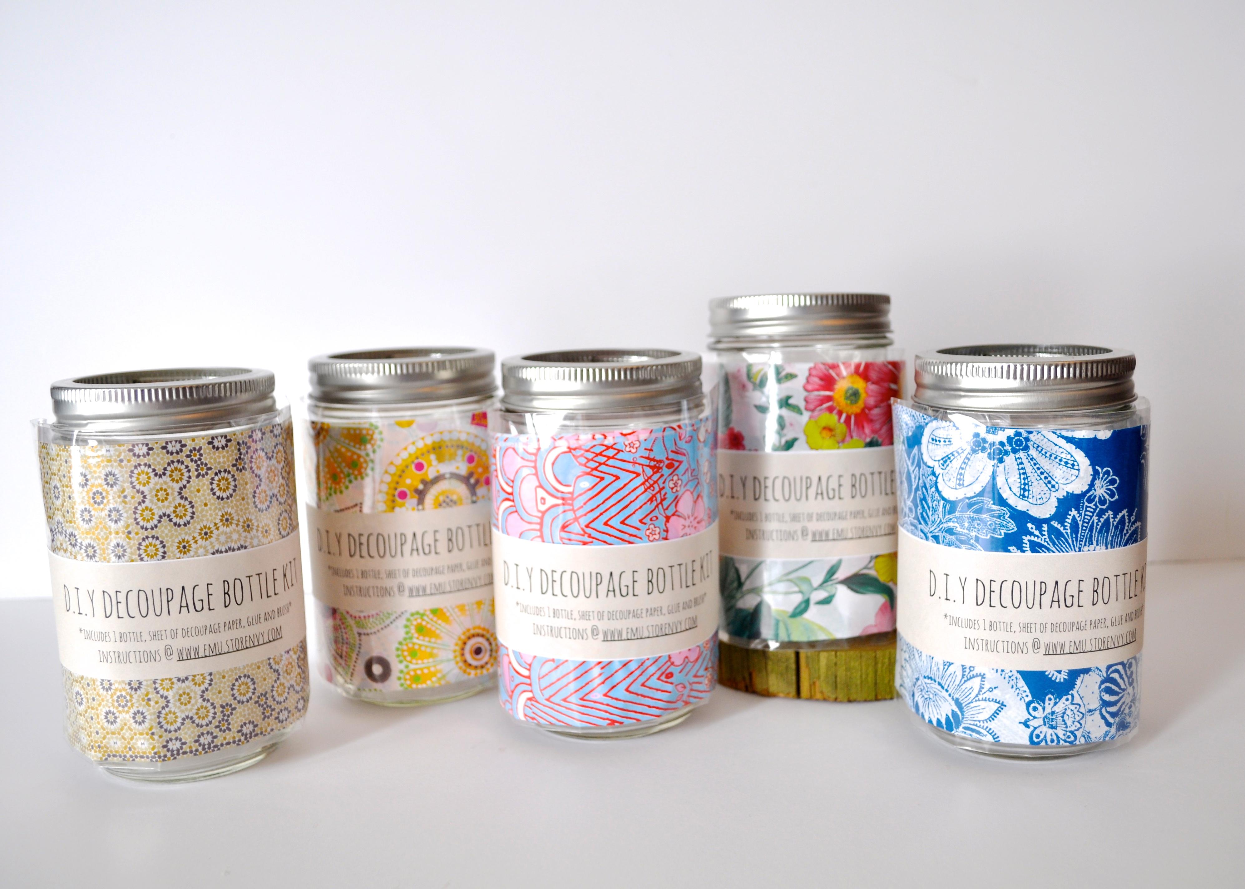 Diy decoupage mason jar kit emu online store powered for Diy bottles and jars