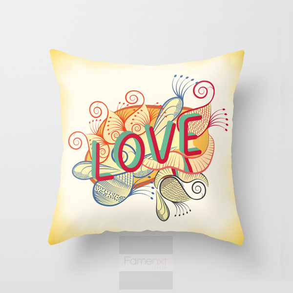 Decorative Love Pillow : Decorative Throw Pillow. Typography Love Pillow Cover. 18 inch. Double sided Print ...