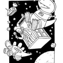 Doctor Who & Dinosaurs in Space original art