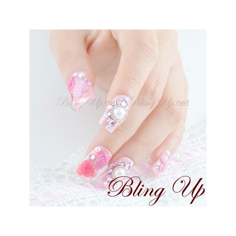 Bling Up Inc. | Rose Pink Kawaii Hime Gyaru 3D Bling Nail Art with ...