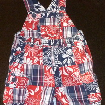 Red/White/Blue Short Overalls-The Children's Place Size 12 Months