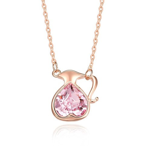 Sterling Silver Rose Gold Plated Pink Heart Crystal Cup