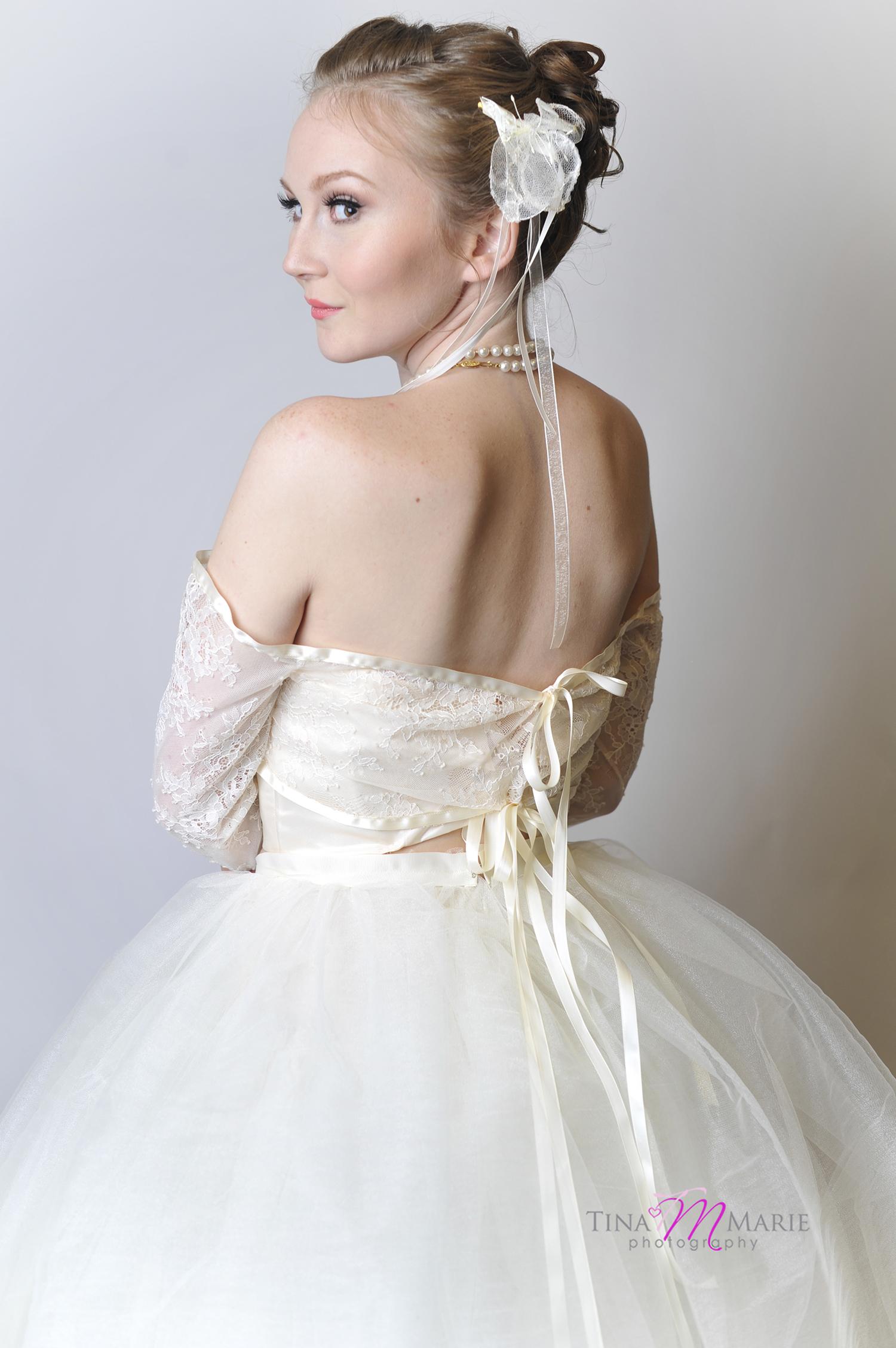 Gillian Lace Bridal Jacket with Ribbon Detail | Rose Red Bridal Designs