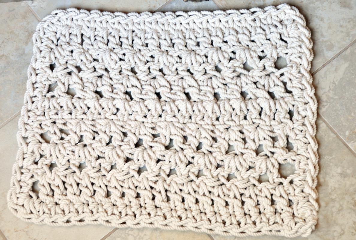 Rope Bathroom Mat  Twisted Lines Bathmat  Nautical Rope Rug