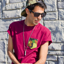 Green Camo Pocket Punt T-Shirt on Maroon