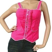In Sm and Med - hot pink white trim snap tank top decora summer blouse