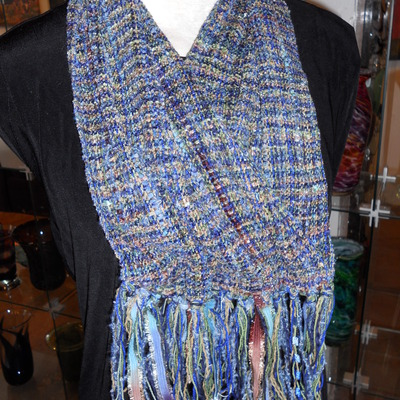 By the seashore - striped chenille scarf