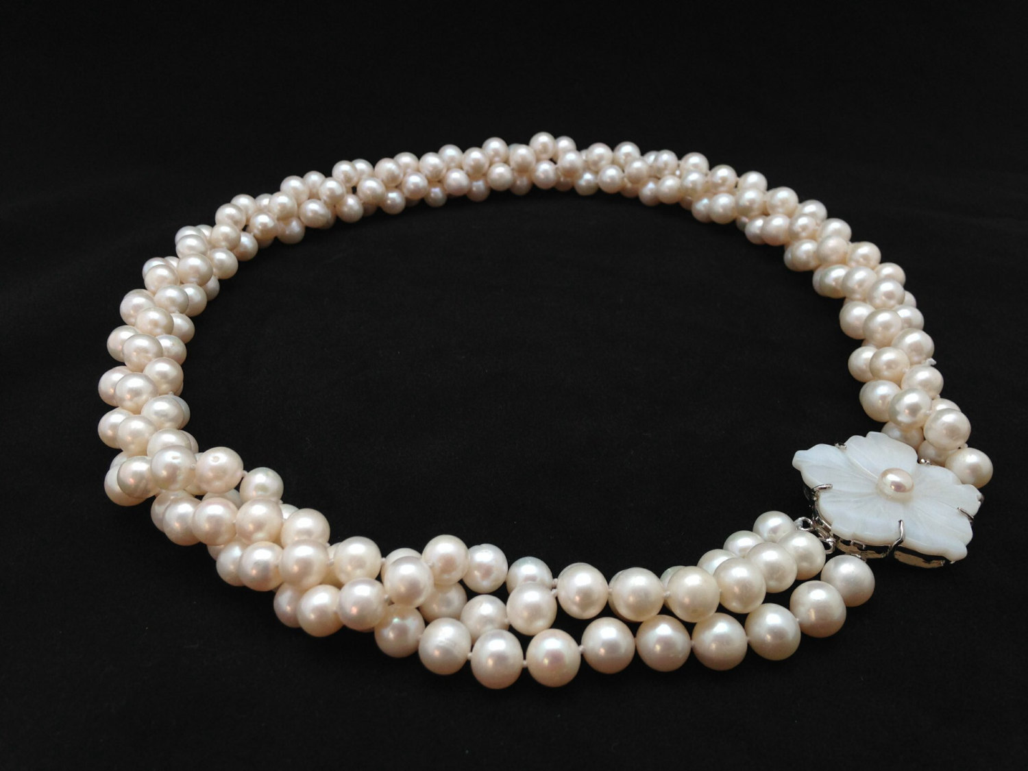 Long Pearl Necklace, 23 Inches, Genuine Pearl Necklace, Twisted Triple  Strand Pearl Necklace