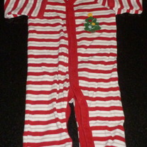 Red/White Stripe Christmas Tree Romper-Old Navy Size 3-6 Months