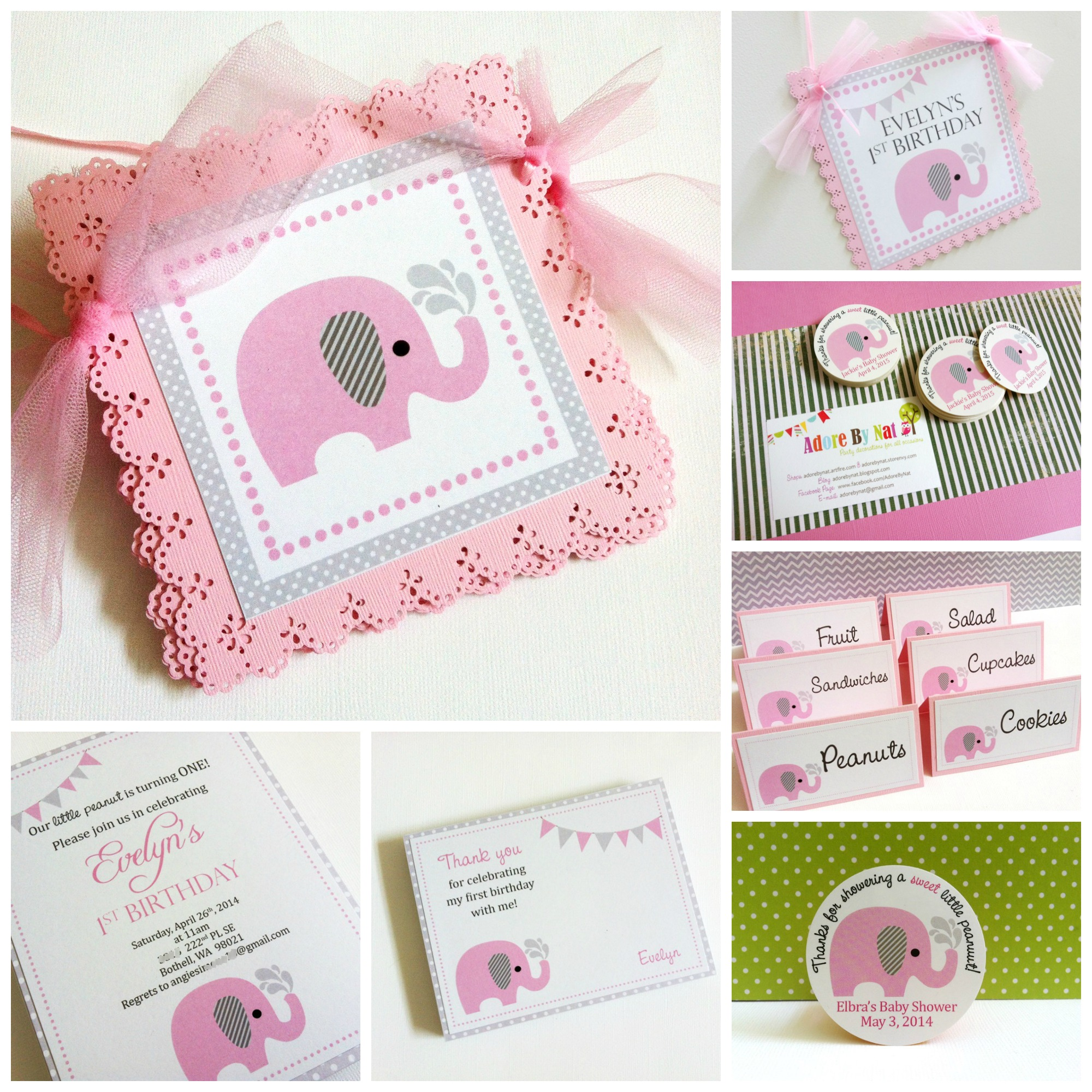 Pink And Grey Elephant Baby Shower Decorations Baby