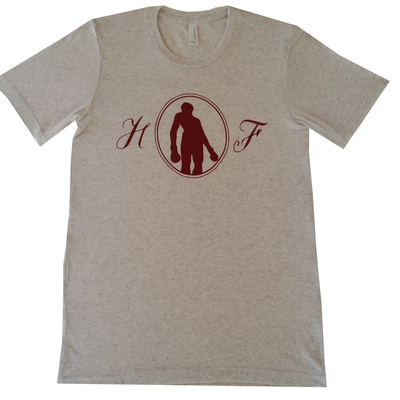 Letts hold fast logo t-shirt, oatmeal/maroon