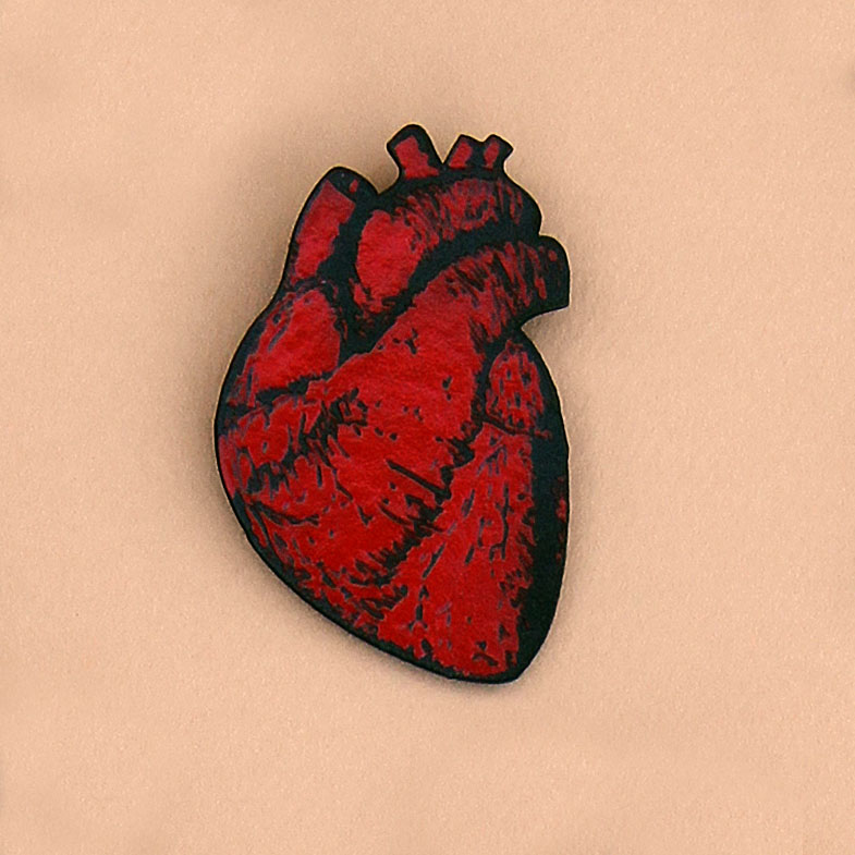 tell-tale heart pin - large anatomical heart · made from books, Human body