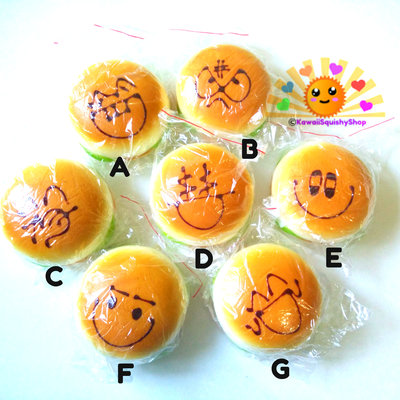 Jumbo emoticon/face hamburger squishy charms