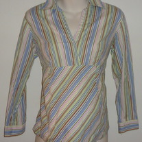 Green/Red/Blue Stripe Long Sleeve Top with Collar-Oh!Mamma Size Medium