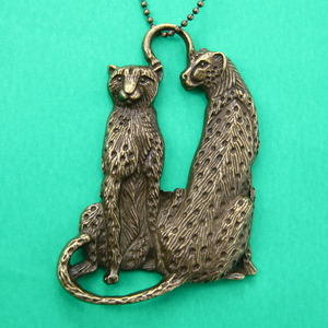 Leopard Tiger Cheetah Detailed Animal Charm Necklace in Bronze