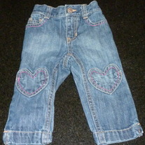 Denim Jeans With Hearts-Old Navy Size 6-12 Months