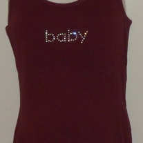 "Maroon Ribbed Tank Top Says ""Baby""-Motherhood Maternity Size Medium  SF0413"