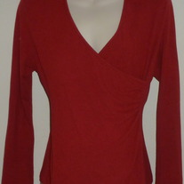 Long Sleeve Deep Red V Neck Shirt-Motherhood Size Large  SF0413