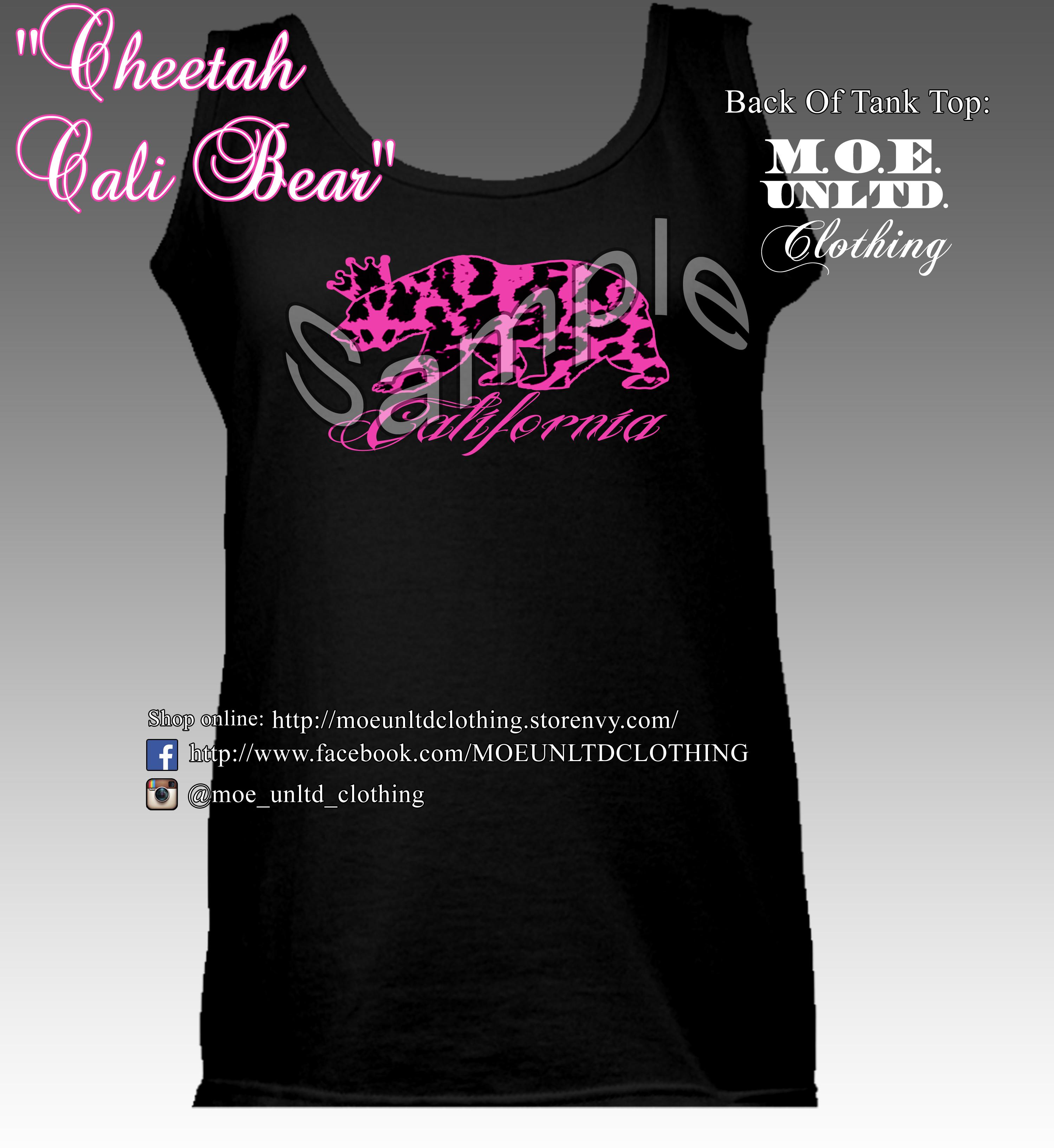 M o e unltd clothing cheetah cali bear women 39 s tank for T shirt printing visalia ca