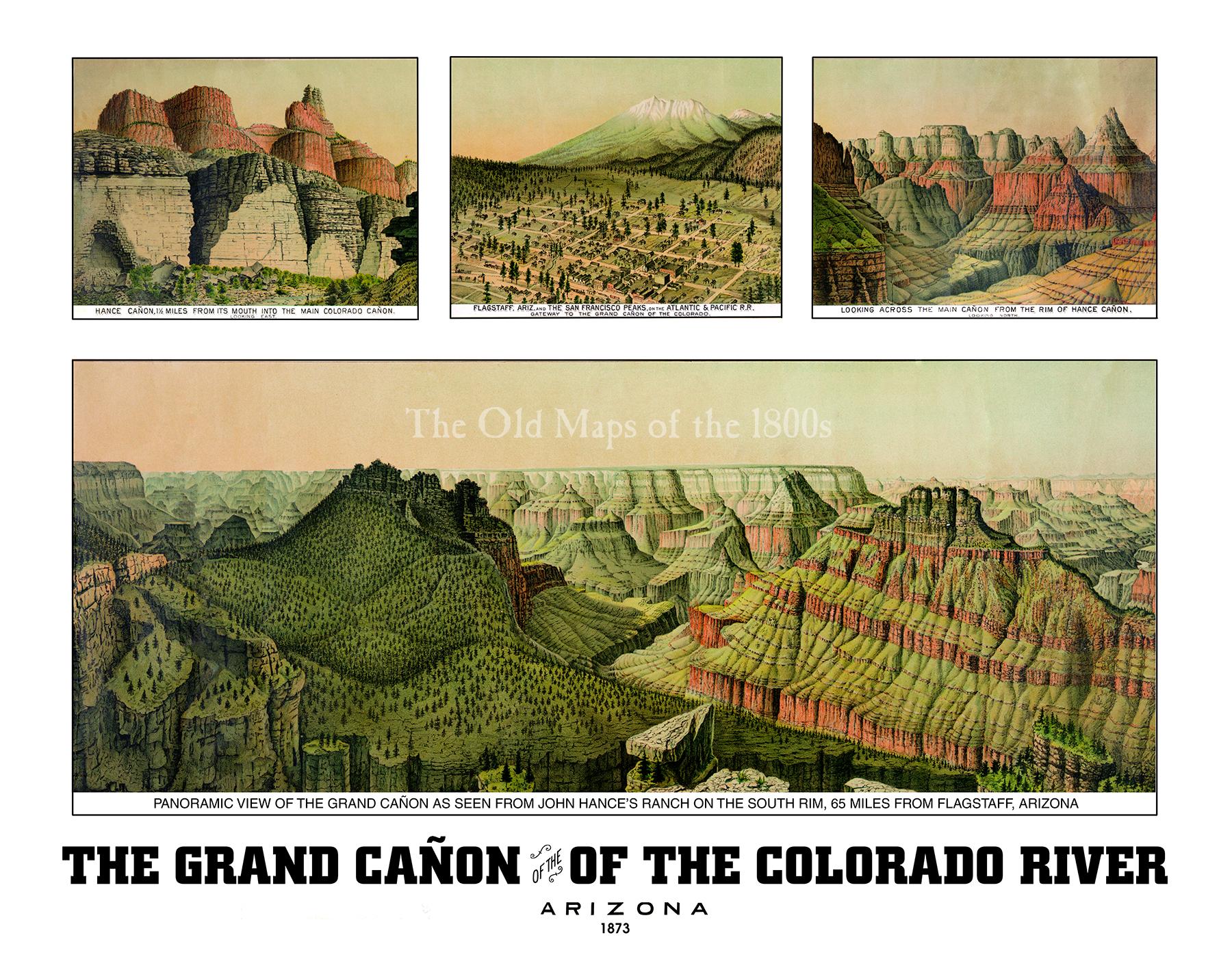 The Grand Canyon of the Colorado River, Arizona in 1873 - Bird\'s Eye ...