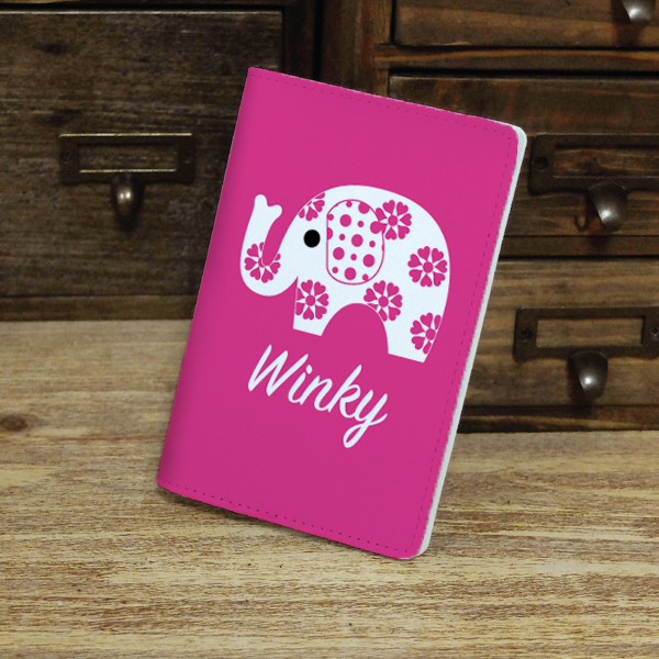 cute flower elephant custom personalised monogrammed pu leather passport holder case wallet