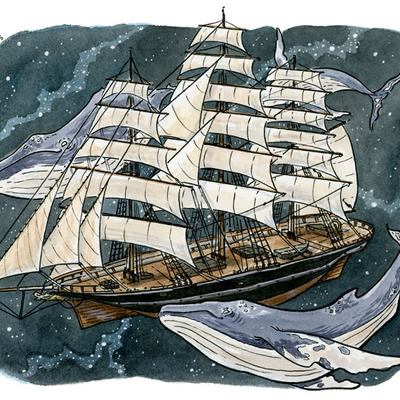 Cutty sark & spacewhales print