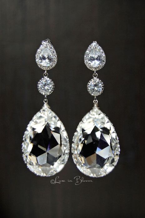 Wedding Chandelier Swarovski Crystal Earrings Style E153 Cc Luxe In Bloom