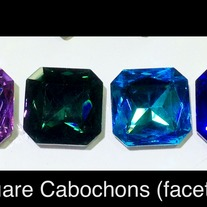Square Crystal Cabochons (faceted) 23mm x 23mm