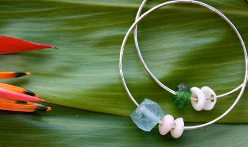 Sterling Silver Bangle (w/ Beach Glass)